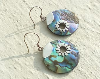 Mother of Pearl abalone and Silver earrings 925