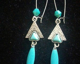 triangle and turquoise sequin earrings