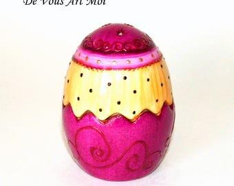 Salt and pepper shakers original hand decorated porcelain egg shape