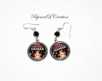 MOM earrings super power glass cabochon