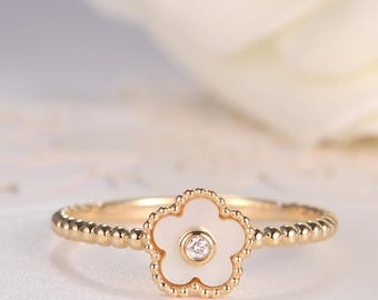 Flower Ring Bezel Set Mother Of Pearl Ring Unique Floral Ring Gold Diamond Beaded Engagement Ring Women Mini Anniversary Promise Gift MOP