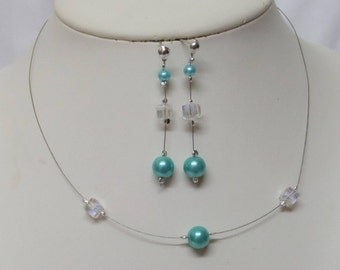 Set 2 pieces wedding necklace, earrings turquoise blue pearls and swarovski crystal cube
