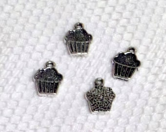4 delicious charms, pendants, cake cup cake metal silver
