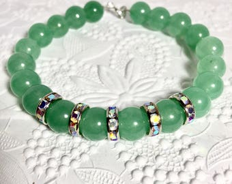 Beaded green bracelet, yoga jewelry, chunky fall bracelet, green and rhinestone jewellery