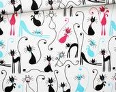 Tissu chat noir, 100% coton imprimé 50 x 160 cm, chats noirs fuchsia turquoise sur fond blanc