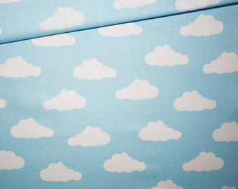 Clouds, cotton fabric printed 50 x 160 cm, white clouds on blue pastel background