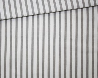 Stripes, 100% cotton fabric printed 50 x 160 cm, grey and white stripes pattern