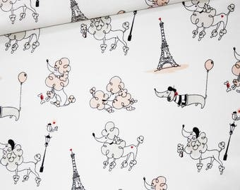 Poodle, dachshund, Eiffel Tower, 100% cotton fabric printed 50 x 160 cm, Parisian pattern on white background