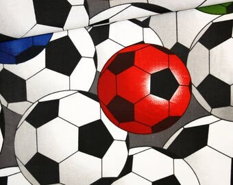 Fabric balls soccer, 100% cotton print 50 x 160 cm, footballs on a grey background