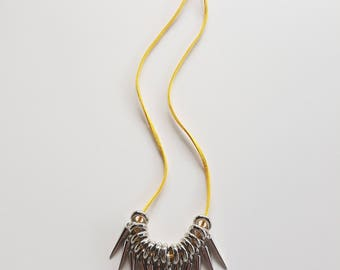 Yellow Leather Necklace With Spike Beads