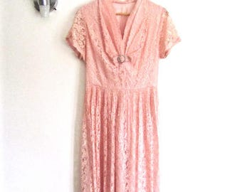 XL 40s 50s Party Dress Pink Lace Cocktail Evening Fancy Rhinestone Bow Dance Dress Satin Lining Extra Large