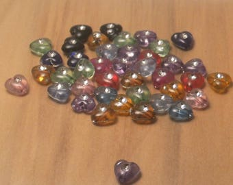 40 hearts with 8mm translucent multi-colored rhinestone beads