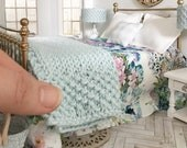 Miniature Hand Knitted Powder Blue Throw Blanket - Dollhouse - Roombox - Diorama - 1:12 scale