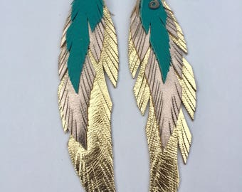 Gold, Rose Gold, Turquoise Leather Feather Earring Large