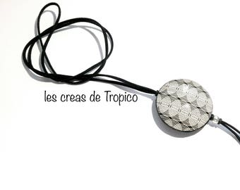 Necklace polymer clay black white geometric pattern