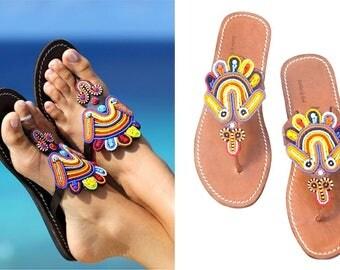 AFRICAN SANDALS, Greek Sandals, Leather Sandals, Masai Sandals, Beaded Sandals, Cute Sandals, Women Sandals, Handmade Sandals, Women Sandals