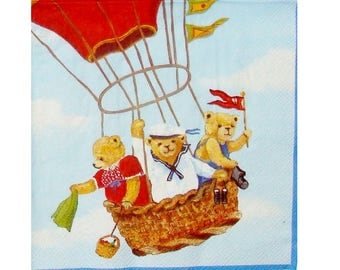 Set of 3 balloons OUR034 bears paper napkins