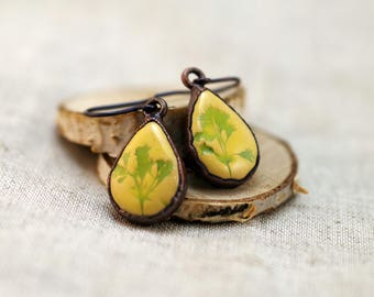 Yellow ceramic earrings, copper electroformed earrings, clay earrings, yellow earrings, teardrop earrings