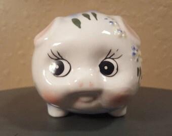 Vintage ceramic piggy bank.  ADORABLE vintage hand painted ceramic bank.  1950's Lefton pig bank.