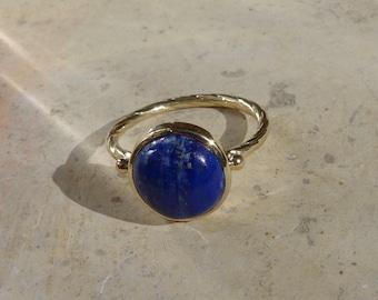 Ring ring 18 K gold, lapis lazuli, woman, stones, blue stone ring ring ring ring, ethical gold, recycled gold ring.
