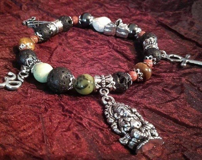 Power Bracelet - spiritual beads ohm ganeesha anhk