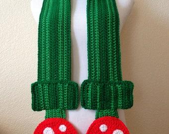 Crochet Piranha Plant Scarf, Super Mario Brothers, Super Mario Scarf, Super Mario Brothers gift, gamer gift, gamer scarf, nintendo scarf