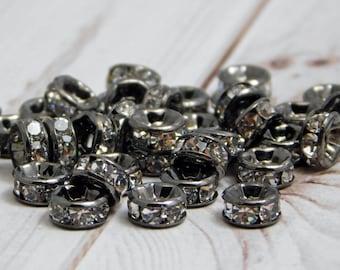 25 or 50pcs - 6mm - Rhinestone Beads - Rhinestone Rondelle - Gunmetal Beads - Crystal Spacers - Rhinestone Spacers - (1600)