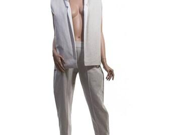 Linen Suit Vest with Silk Lining