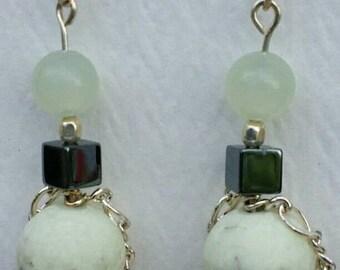 Serpentine, Hematite, and Lemon frosted Chrysoprase earrings