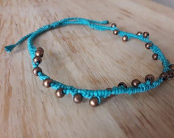 Blue anklet with colored bronze balls / Pulseta ankle beaded brass / Hippie / ethnic /