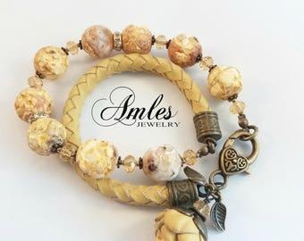 light yellow bracelet - necklace, gemstone, leather bracelet, gemstone necklace, leather necklace, gemstone bracelet, bracelet beads, flower