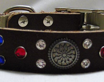 Handmade Leather Dog Collar - Patriot