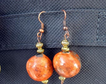 Natural bronze, copper earrings and raku orange