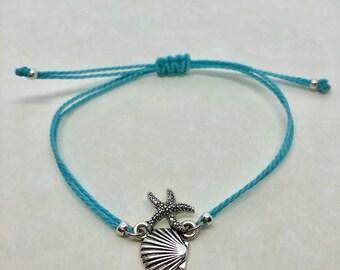 beach bracelet, adjustable string beach bracelet, custom bracelet, adjustable starfish bracelet, shell bracelet, gifts for her, party favors