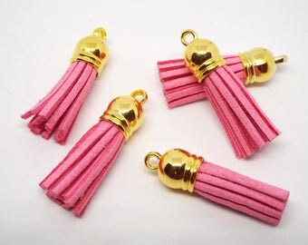 Small Pink Suede Tassel Charm 38mm Gold Topped Pack of 5