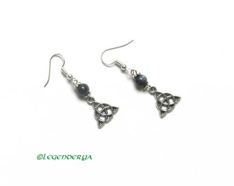 Earrings with labradorite beads and Celtic knots, witch, wicca, pagan