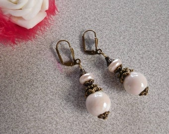 Victorian earrings Pearl 12 mm cream porcelain ceramic
