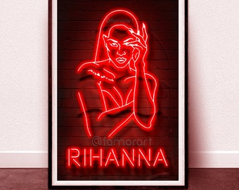 POSTER: Neon Rihanna, Bad Girl RiRi, Neon design, Digital art, ANTI, Fenty, Puma