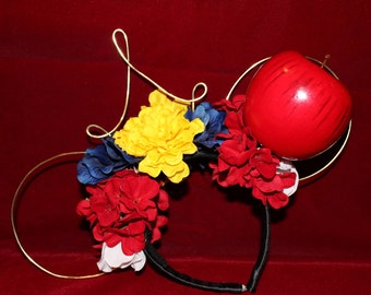 Snow White Inspired Flowered Wire Mickey/Minnie Mouse Ears