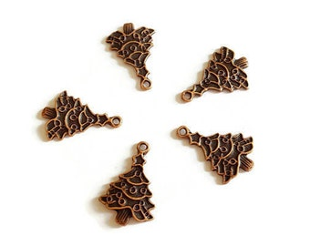 Christmas trees copper antique 5 x