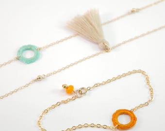 Bracelet chain Gold Filled gold, orange circle crocheted beads, faceted