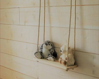 Swing shelf for stuffed animals or toys wooden 100 x 39 cm - baby, child room decoration