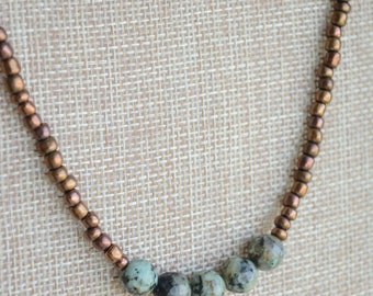 boho adjustable African Turquoise beaded necklace w/ sterling sliver clasps