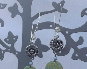 Large Stud Earrings with silver beads, round charms, beads sequin enamel yellow and green and blue magic effect