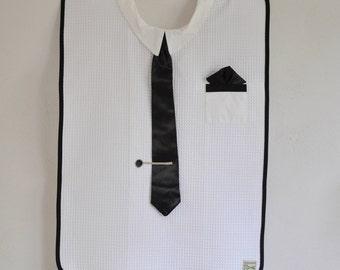 Adult bib with black tie for men