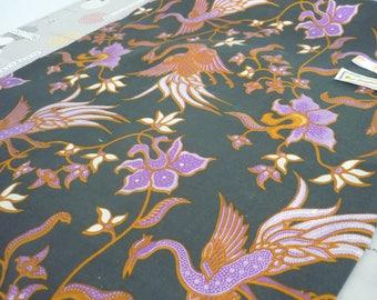 Fabric Indonesian batik cotton birds cranes peacocks 1 m 15 x 1 m 80 - Bali cotton - fabric from Bali