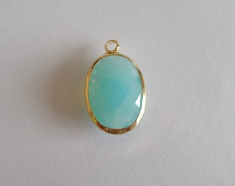 oval blue opal and gold Crystal pendant