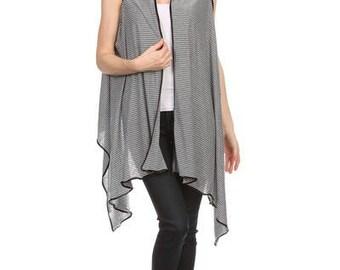 NEW Ladies Black and White Striped Soft Asymmetric Vest - Black & White