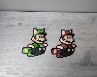 Raccoon Mario or Luigi Magnet Perler Sprite