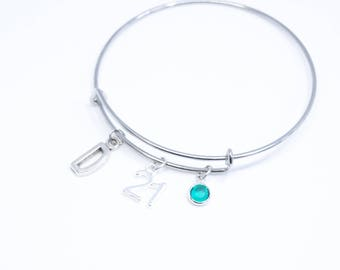 21st Birthday Gift for Her 21st Birthday Girl 21st Gift Ideas 21 Birthday Bracelet Bday Gift For Him 21 years old Personalized 21st Bangle